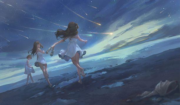 夜空下奔跑的女孩