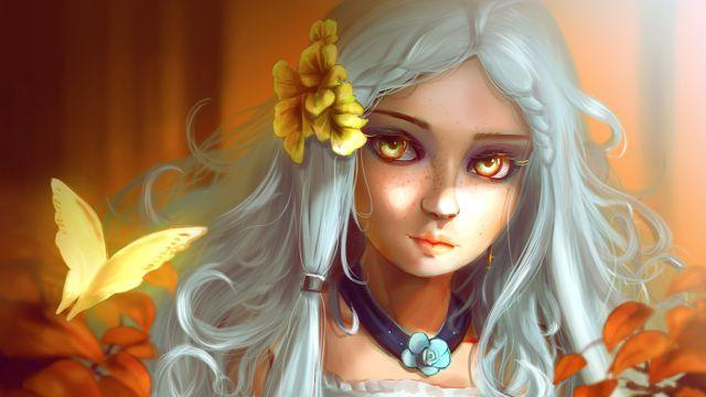 雀斑的白发女孩