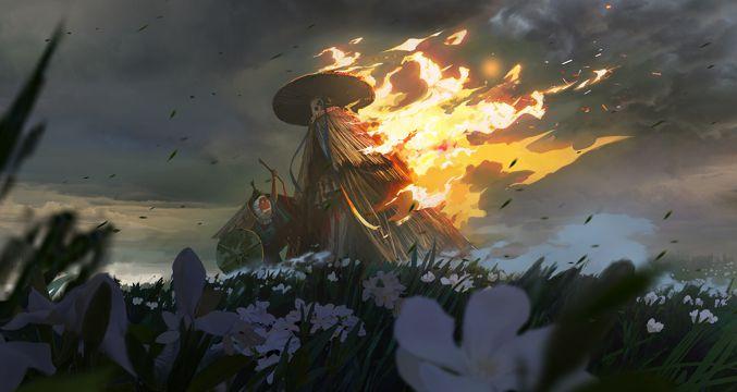 着火的稻草人