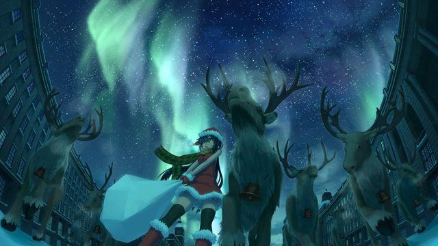 圣诞女孩与麋鹿
