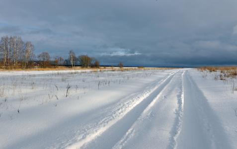 冬天,草原,雪,轨道