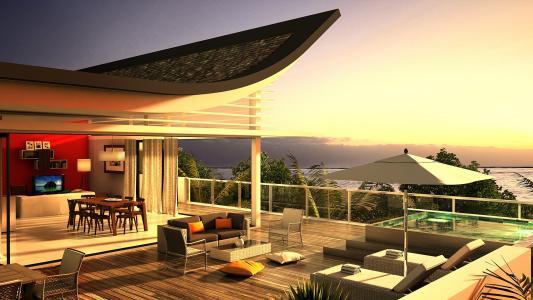 别墅,露台,景观,壁纸