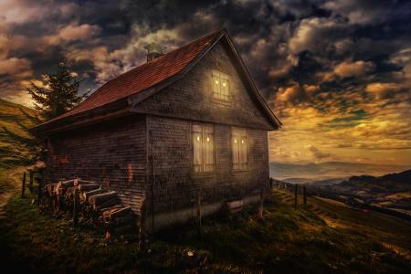 云,房子,处理,晚安,天空