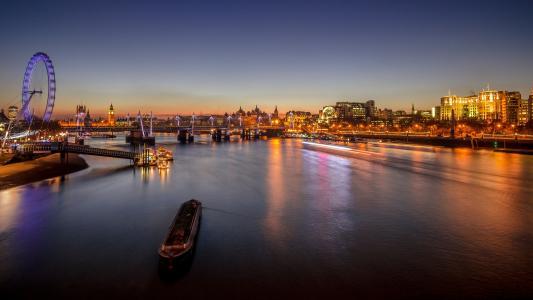 城市,晚上,晚上,灯光,河,摩天轮,伦敦