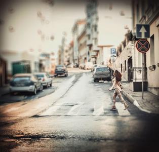 街道,汽车,过路处,行人,迹象,快点,乐趣