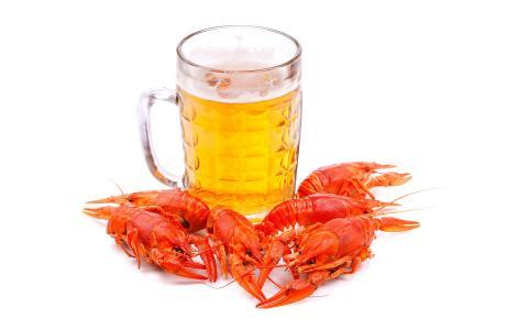 啤酒,玻璃,小龙虾