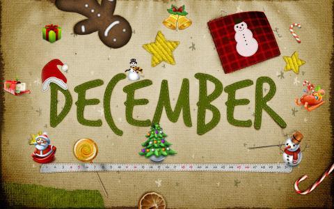十二月,雪人,姜饼,圣诞老人,棒棒糖