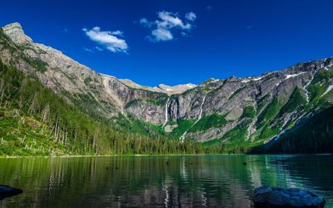 雪崩湖,冰川国家公园,湖泊,山脉