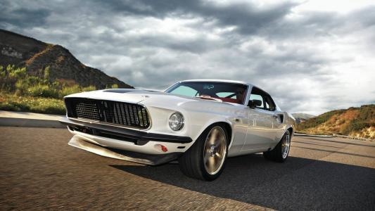 福特,野马,1969年1马赫,白色,道路,天空,快速和激情5