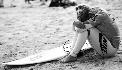 女孩,沙滩,经验,兴奋,冲浪,冲浪板,混乱