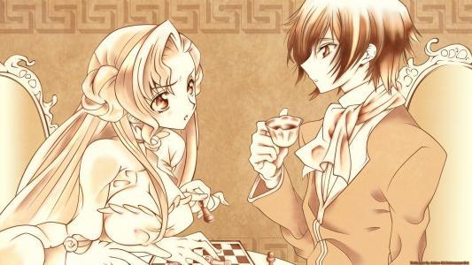 夫妇,象棋,咖啡