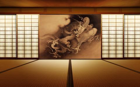 房间,日本,屏幕,龙