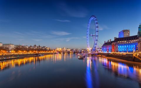 伦敦眼,千禧轮,伦敦,英国,泰晤士河,伦敦眼,伦敦,英格兰,河,泰晤士,摩天轮,夜城