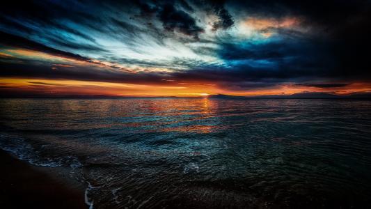 日落,海,波浪,沙滩,沙子,地平线