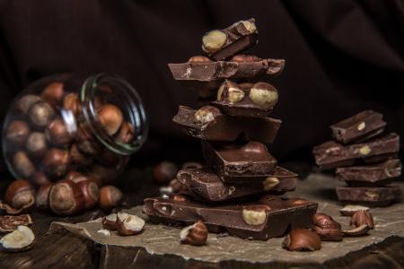 甜,巧克力,金字塔,坚果,榛子