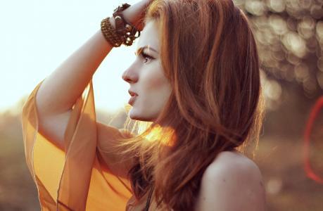 红头发,脸,女孩,睫毛,美丽,看