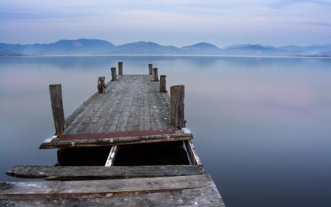 码头,板,水