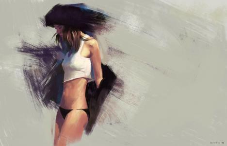 女孩,背景,绘图