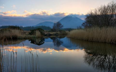 晚上,苏格兰,山,湖,博福德,景观
