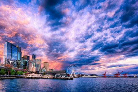 西雅图,摩天轮,西雅图路堤上的日落