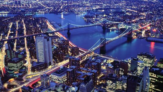 纽约,夜晚,桥梁,灯光