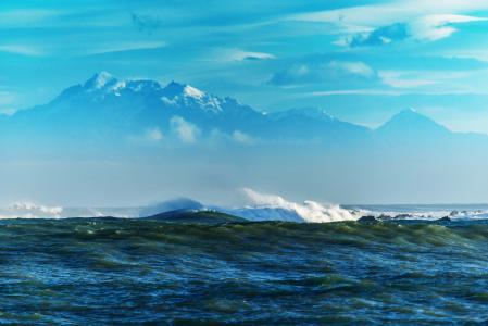 海,海岸,山脉,海浪,石头,礁石