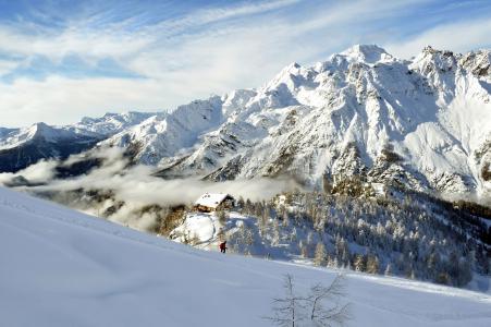 斜坡,白雪皑皑,雪山,全景,山脉,滑雪者