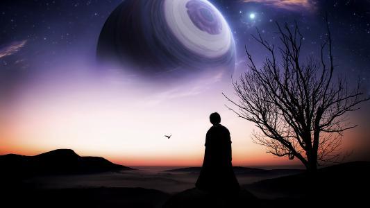 艺术,行星,人,树,鸟