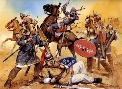 战斗,罗马军团,马术,帕提亚,弓箭手,卡尔丘基,头盔,飞镖,盾牌,弓箭,箭