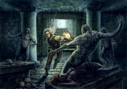 巫师,地下城,剑,火炬,火