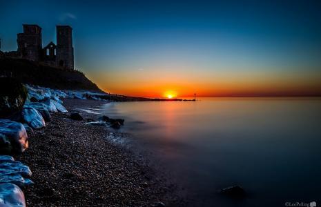 海,日落,海岸,废墟,石头,景观