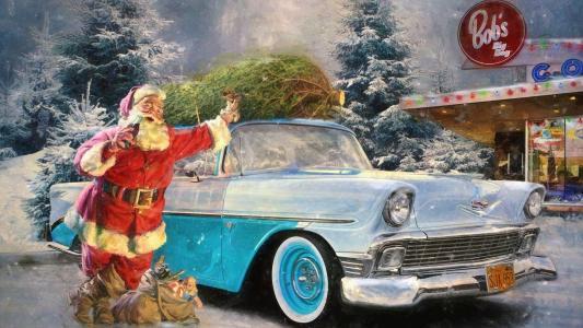 冬天,圣诞老人,机器,圣诞节,el,草坪,汽车,广告,雪