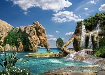 岩石,山脉,石头,海,瀑布,石头人
