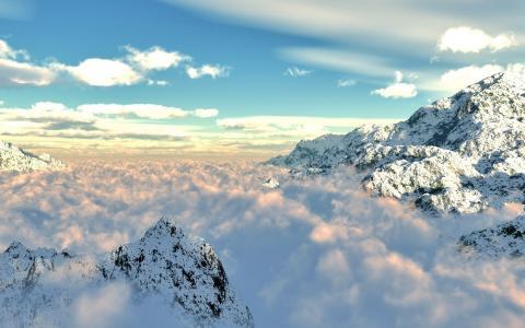 山,雪,雾