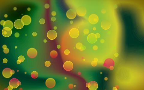 明亮的气泡,彩虹的颜色