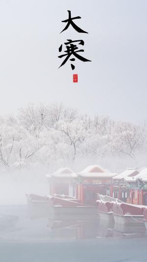 传统节气大寒时节唯美雪景