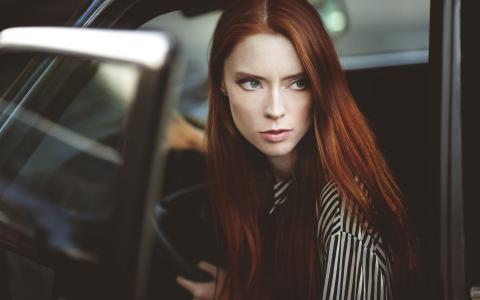 在车里的女孩,模型,肖像,朱莉,Hildreth