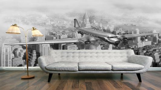 室内,沙发,落地灯,壁纸,飞机,城市