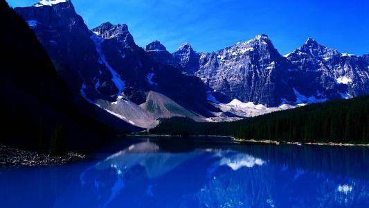 蓝色,湖,壁纸