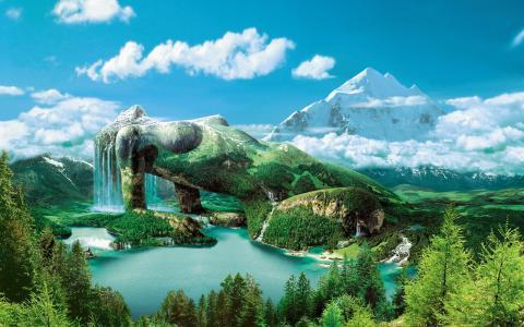 石女人,森林,湖泊,山脉