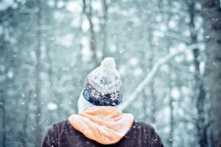冬天,雪,森林,男人,家伙,帽子