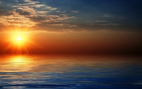 地平线,海,天空,太阳,云,日落