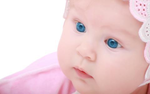 蓝色的眼睛,女孩,粉红色的帽子