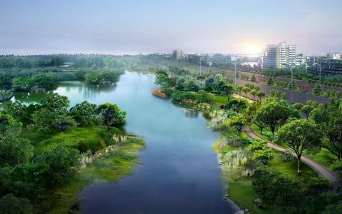 城市,道路,河流,公园