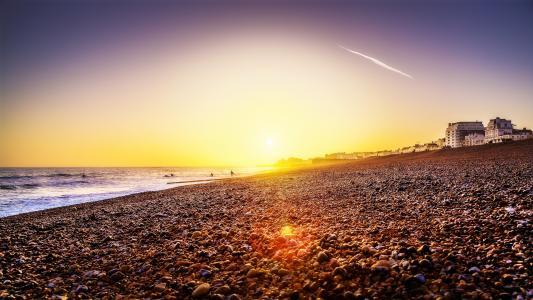 海滩,日落,壁纸
