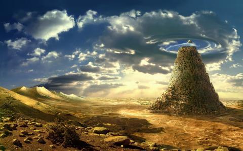 沙漠,岩石,岩石,天空,性质