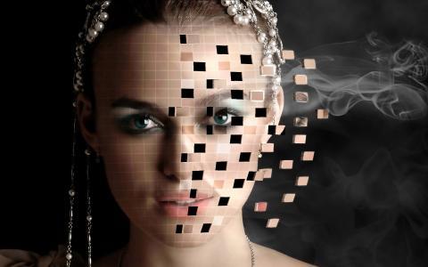 女孩,3D,肖像,装饰,烟雾