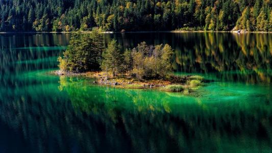 山,湖,壁纸
