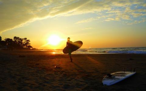 冲浪,海洋,早上