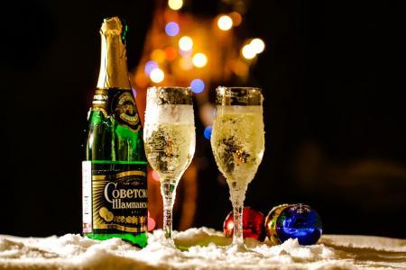 假日,球,玻璃,香槟